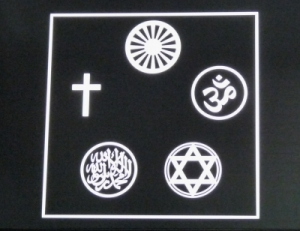 Symbole aller großen Weltreligionen