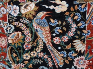 Teppich, persisch, mit Blumen und singendem Vogel