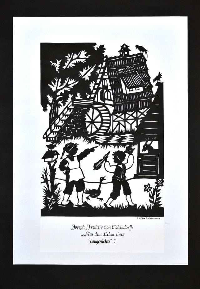 """Scherenschnitt von Erika Schirmer, aus der Serie """"Aus dem Leben eines Taugenichts"""" , Copyright (c) Stadt Bochum, Referat für Kommunikation"""