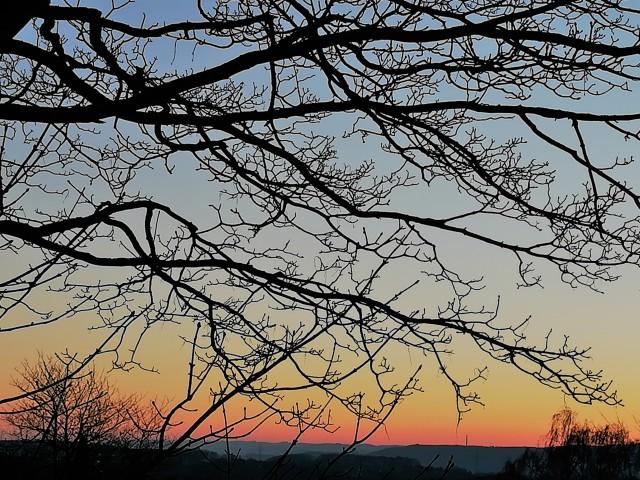 Sonnenaufgang im Februar 2018 bei Minus 8 Grad