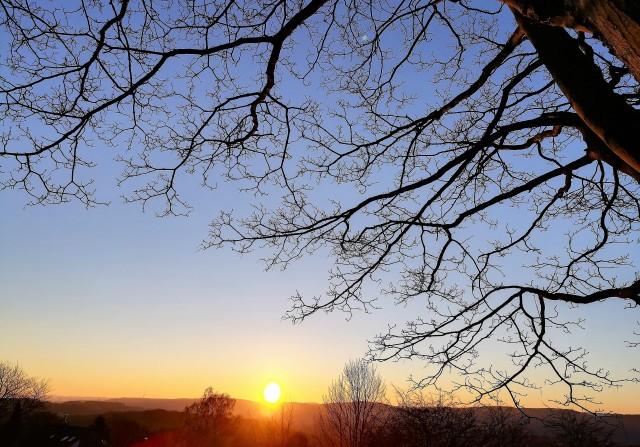 Sonne am Horizont im Februar 2018 bei Minus 8 Grad
