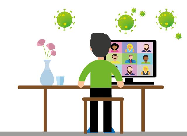 Darstellung einer Videokonferenz im Home-Office